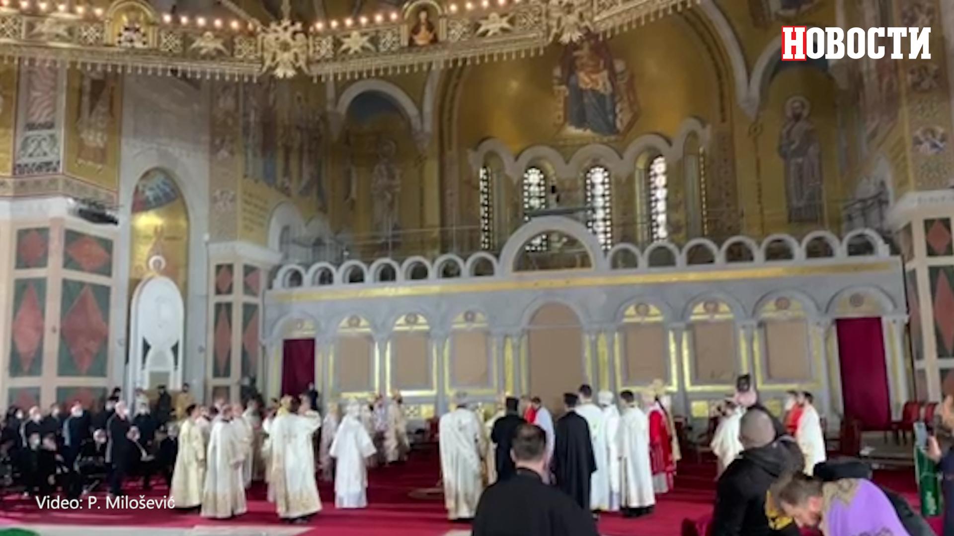 Služenje svete zaupokojene liturgije za patrijarha Irineja
