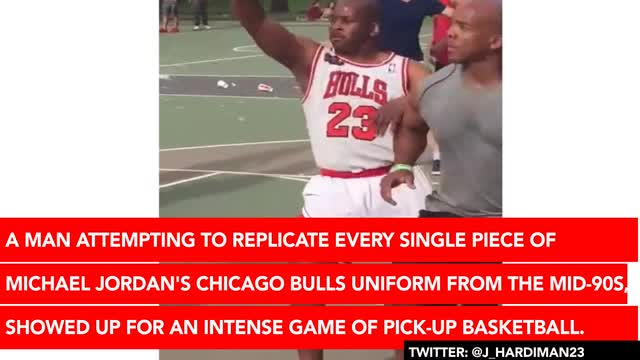 4a7ff4185a6e Man Dressed Exactly Like Michael Jordan Tries Way Too Hard at Pick-Up  Basketball